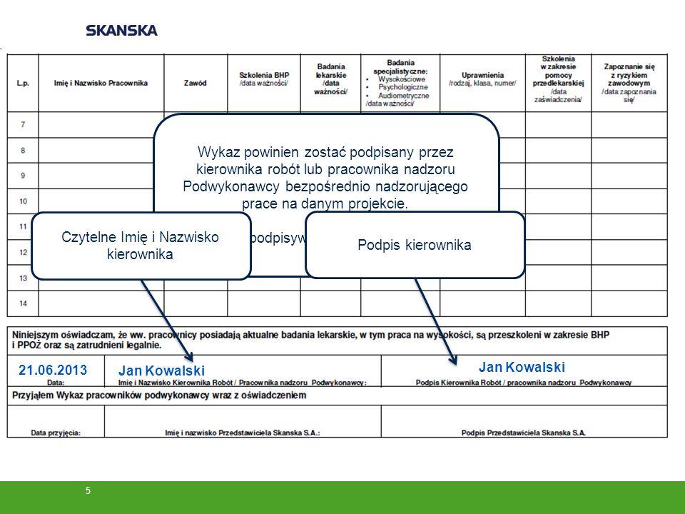 Wykaz powinien zostać podpisany przez kierownika robót lub pracownika nadzoru Podwykonawcy bezpośrednio nadzorującego prace na danym projekcie.