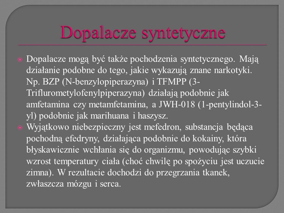  Dopalacze mogą być także pochodzenia syntetycznego. Mają działanie podobne do tego, jakie wykazują znane narkotyki. Np. BZP (N-benzylopiperazyna) i