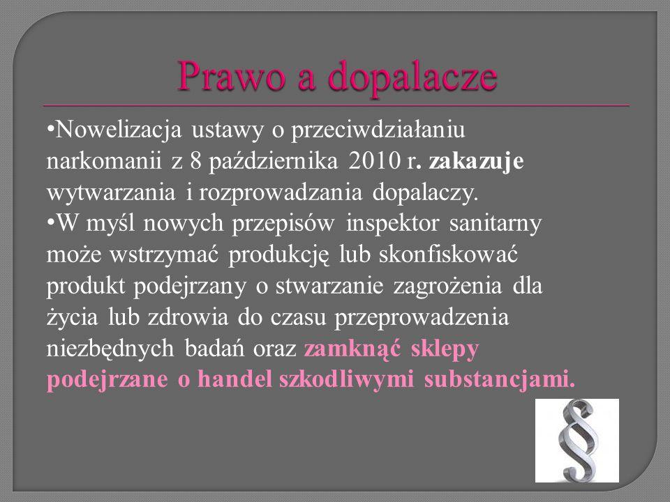 W Polsce obowiązuje zakaz wytwarzania i wprowadzania do obrotu środków zastępczych.