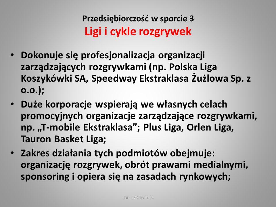 Przedsiębiorczość w sporcie 3 Ligi i cykle rozgrywek Dokonuje się profesjonalizacja organizacji zarządzających rozgrywkami (np. Polska Liga Koszykówki