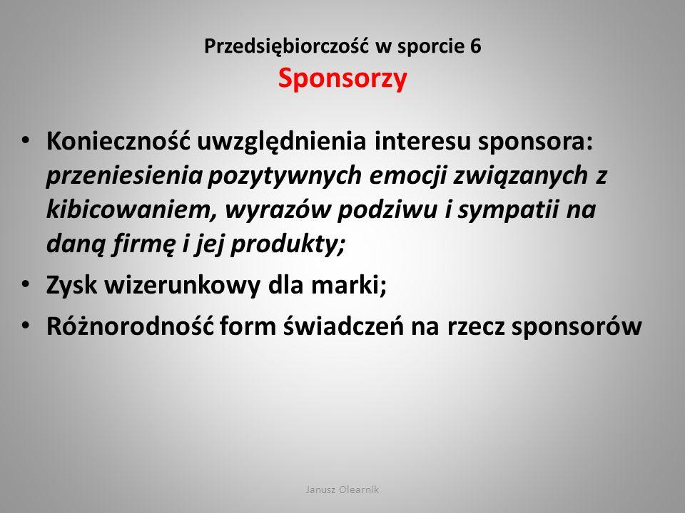 Przedsiębiorczość w sporcie 6 Sponsorzy Konieczność uwzględnienia interesu sponsora: przeniesienia pozytywnych emocji związanych z kibicowaniem, wyraz