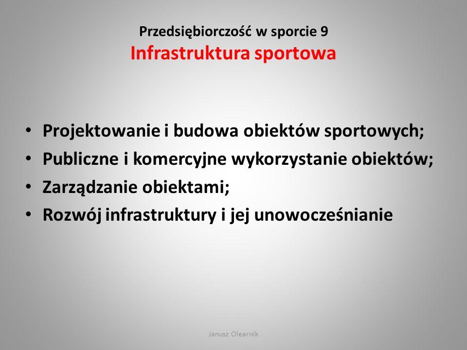 Przedsiębiorczość w sporcie 9 Infrastruktura sportowa Projektowanie i budowa obiektów sportowych; Publiczne i komercyjne wykorzystanie obiektów; Zarzą