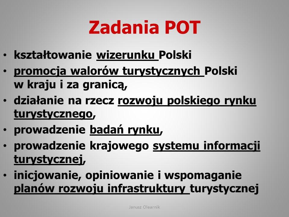 Zadania POT kształtowanie wizerunku Polski promocja walorów turystycznych Polski w kraju i za granicą, działanie na rzecz rozwoju polskiego rynku tury