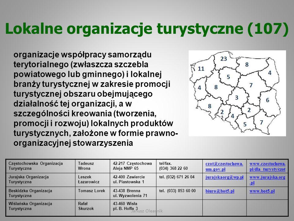 Lokalne organizacje turystyczne (107) organizacje współpracy samorządu terytorialnego (zwłaszcza szczebla powiatowego lub gminnego) i lokalnej branży