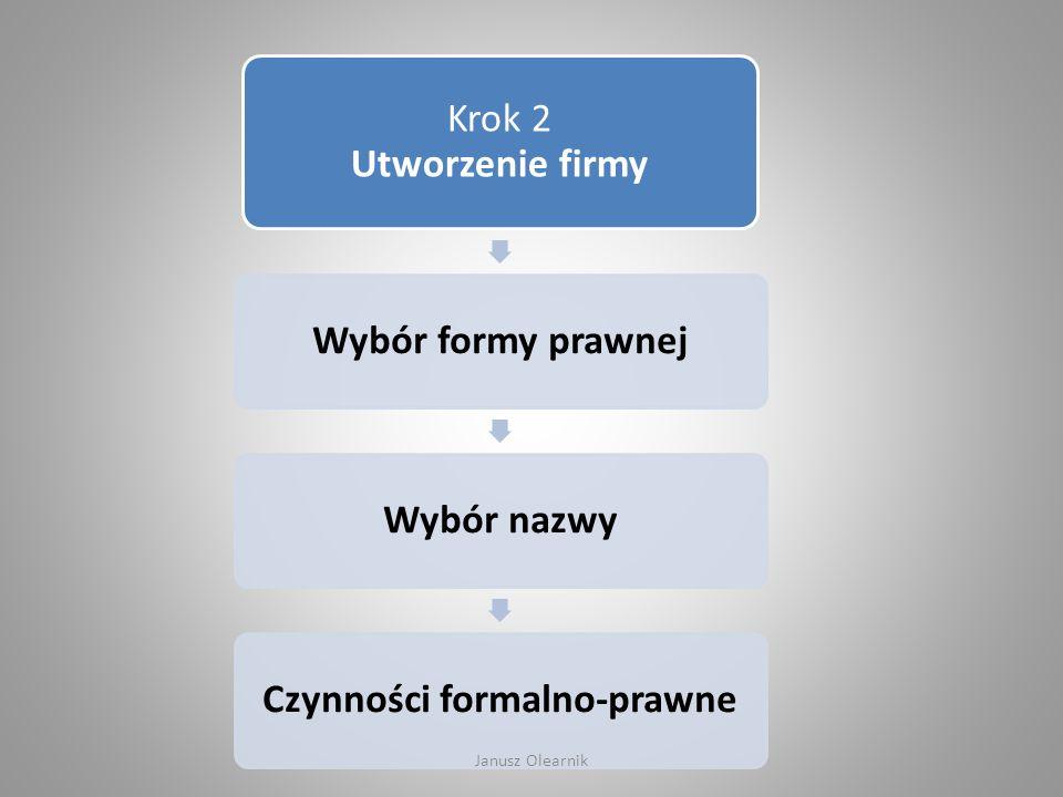 Krok 2 Utworzenie firmy Wybór formy prawnejWybór nazwyCzynności formalno-prawne Janusz Olearnik
