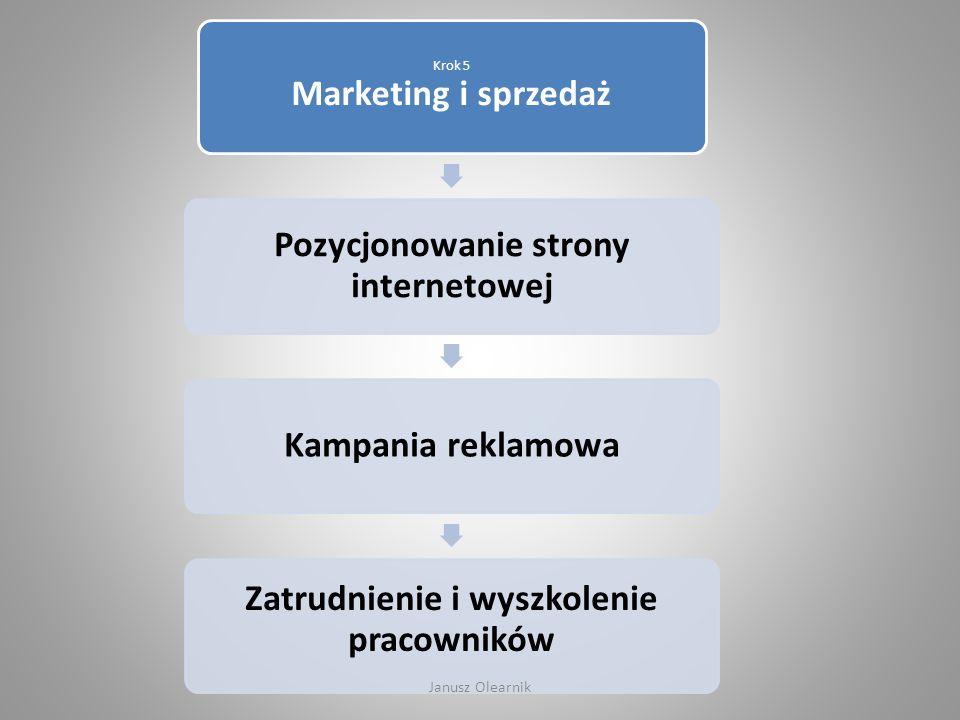 Krok 5 Marketing i sprzedaż Pozycjonowanie strony internetowej Kampania reklamowa Zatrudnienie i wyszkolenie pracowników Janusz Olearnik