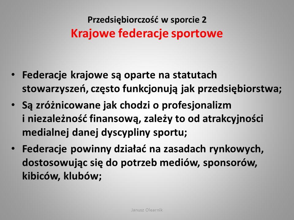 Przedsiębiorczość w sporcie 2 Krajowe federacje sportowe Federacje krajowe są oparte na statutach stowarzyszeń, często funkcjonują jak przedsiębiorstw