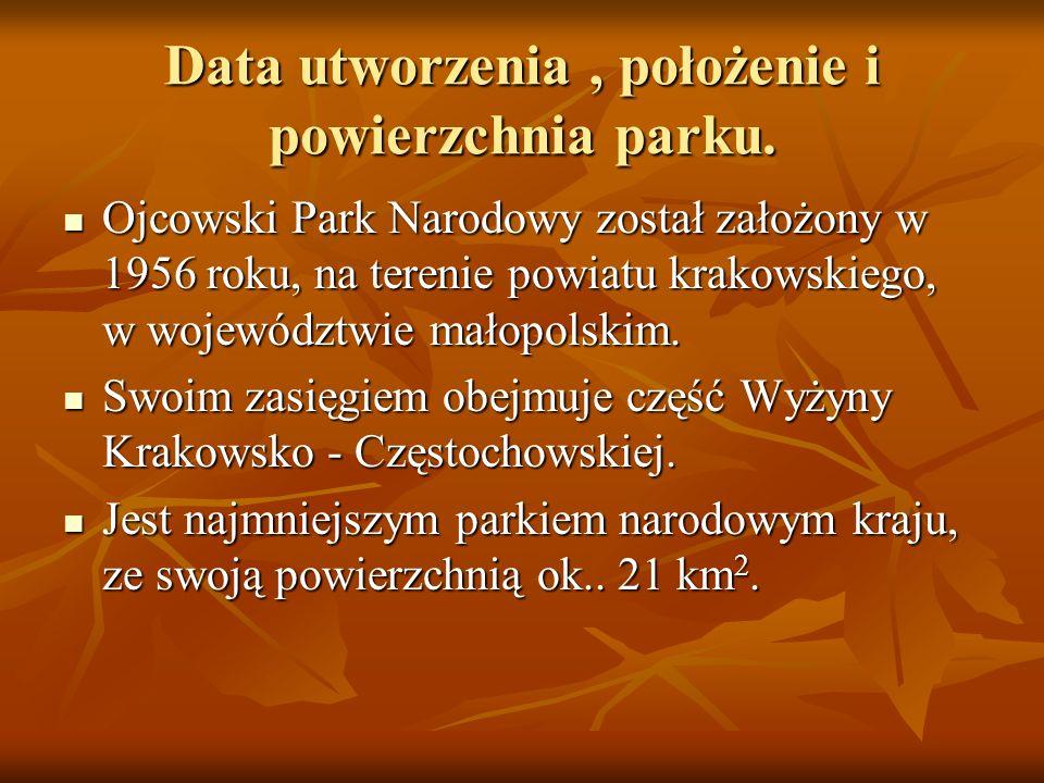 Data utworzenia, położenie i powierzchnia parku. Ojcowski Park Narodowy został założony w 1956 roku, na terenie powiatu krakowskiego, w województwie m