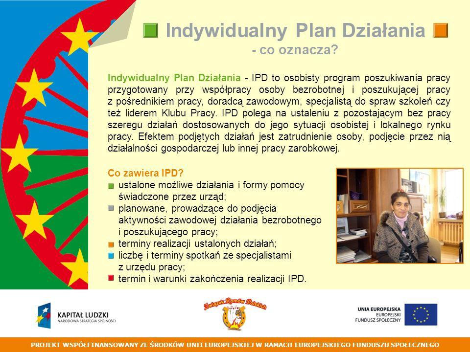 PROJEKT WSPÓŁFINANSOWANY ZE ŚRODKÓW UNII EUROPEJSKIEJ W RAMACH EUROPEJSKIEGO FUNDUSZU SPOŁECZNEGO Indywidualny Plan Działania - co oznacza.