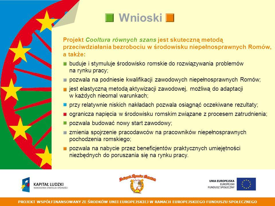 PROJEKT WSPÓŁFINANSOWANY ZE ŚRODKÓW UNII EUROPEJSKIEJ W RAMACH EUROPEJSKIEGO FUNDUSZU SPOŁECZNEGO Wnioski Projekt Cooltura równych szans jest skuteczną metodą przeciwdziałania bezrobociu w środowisku niepełnosprawnych Romów, a także: buduje i stymuluje środowisko romskie do rozwiązywania problemów na rynku pracy; pozwala na podniesie kwalifikacji zawodowych niepełnosprawnych Romów; jest elastyczną metodą aktywizacji zawodowej, możliwą do adaptacji w każdych nieomal warunkach; przy relatywnie niskich nakładach pozwala osiągnąć oczekiwane rezultaty; ogranicza napięcia w środowisku romskim związane z procesem zatrudnienia; pozwala budować nowy start zawodowy; zmienia spojrzenie pracodawców na pracowników niepełnosprawnych pochodzenia romskiego; pozwala na nabycie przez beneficjentów praktycznych umiejętności niezbędnych do poruszania się na rynku pracy.