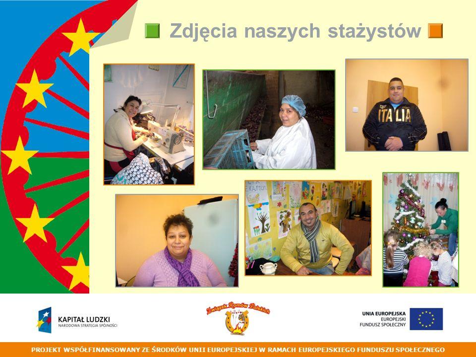 PROJEKT WSPÓŁFINANSOWANY ZE ŚRODKÓW UNII EUROPEJSKIEJ W RAMACH EUROPEJSKIEGO FUNDUSZU SPOŁECZNEGO Zdjęcia naszych stażystów