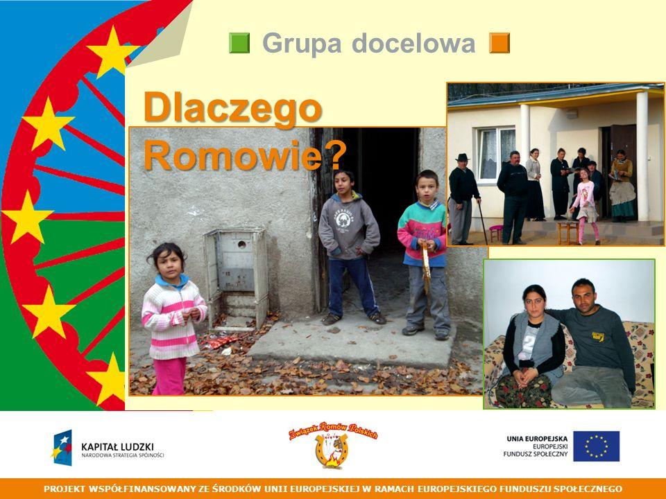 PROJEKT WSPÓŁFINANSOWANY ZE ŚRODKÓW UNII EUROPEJSKIEJ W RAMACH EUROPEJSKIEGO FUNDUSZU SPOŁECZNEGO Grupa docelowa Dlaczego Romowie?
