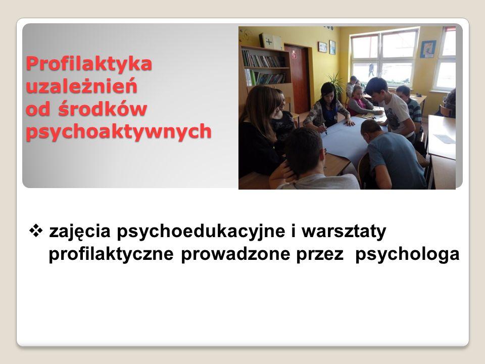 Profilaktyka uzależnień od środków psychoaktywnych  zajęcia psychoedukacyjne i warsztaty profilaktyczne prowadzone przez psychologa