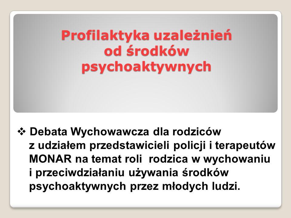 Profilaktyka uzależnień od środków psychoaktywnych  Debata Wychowawcza dla rodziców z udziałem przedstawicieli policji i terapeutów MONAR na temat ro