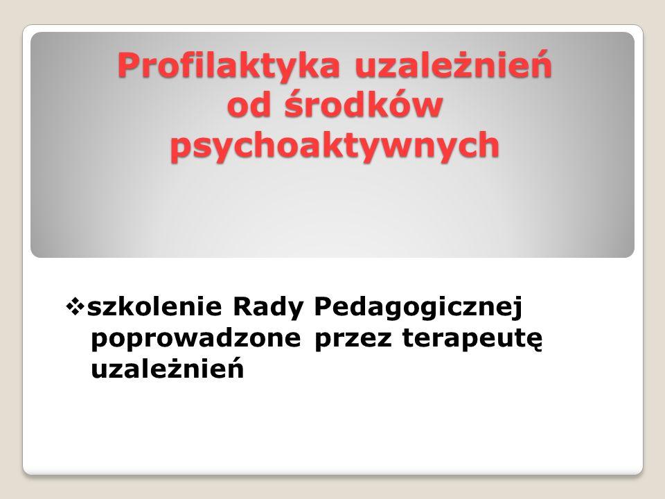 Profilaktyka uzależnień od środków psychoaktywnych  szkolenie Rady Pedagogicznej poprowadzone przez terapeutę uzależnień