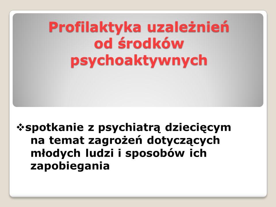 Profilaktyka uzależnień od środków psychoaktywnych  spotkanie z psychiatrą dziecięcym na temat zagrożeń dotyczących młodych ludzi i sposobów ich zapo