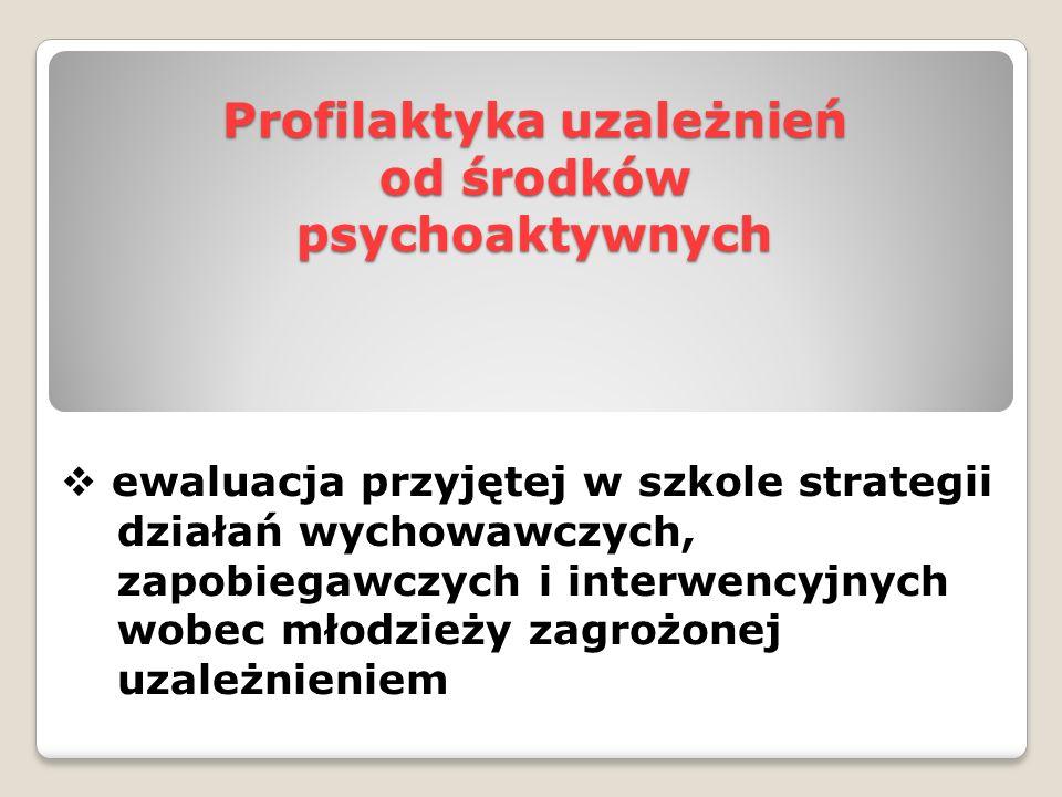 Profilaktyka uzależnień od środków psychoaktywnych  ewaluacja przyjętej w szkole strategii działań wychowawczych, zapobiegawczych i interwencyjnych w