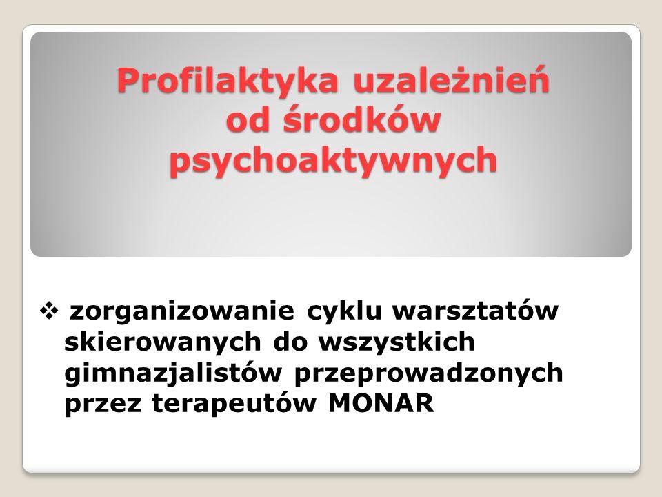 Profilaktyka uzależnień od środków psychoaktywnych  zorganizowanie cyklu warsztatów skierowanych do wszystkich gimnazjalistów przeprowadzonych przez