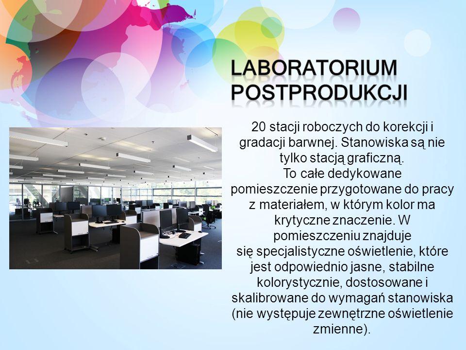 20 stacji roboczych do korekcji i gradacji barwnej. Stanowiska są nie tylko stacją graficzną. To całe dedykowane pomieszczenie przygotowane do pracy