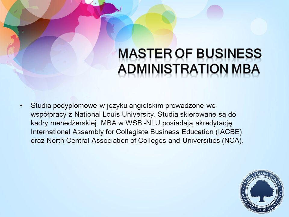 Studia podyplomowe w języku angielskim prowadzone we współpracy z National Louis University. Studia skierowane są do kadry menedżerskiej. MBA w WSB –N