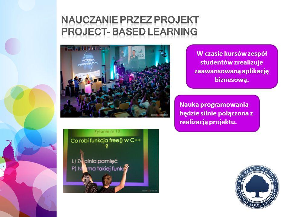 W czasie kursów zespół studentów zrealizuje zaawansowaną aplikację biznesową. Nauka programowania będzie silnie połączona z realizacją projektu.