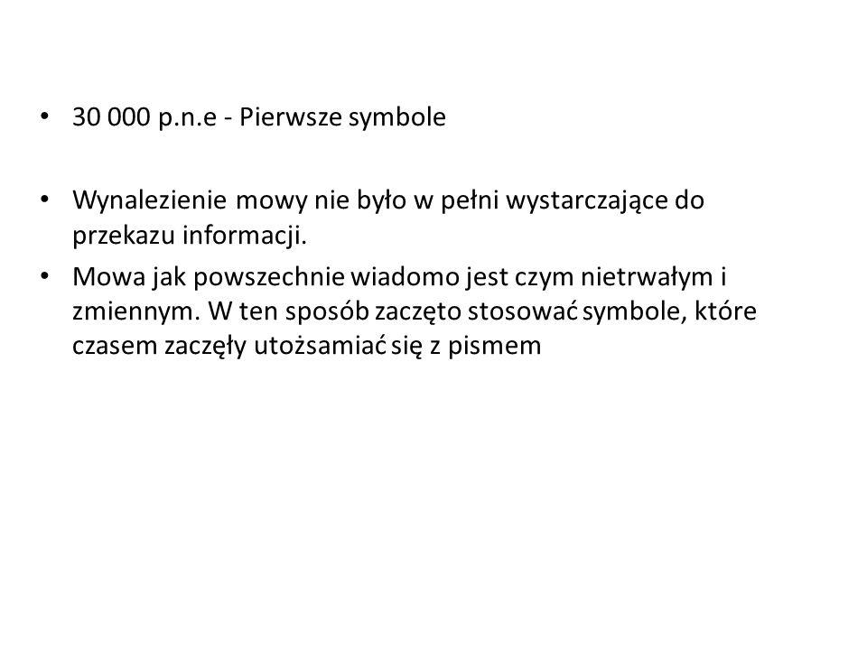 30 000 p.n.e - Pierwsze symbole Wynalezienie mowy nie było w pełni wystarczające do przekazu informacji. Mowa jak powszechnie wiadomo jest czym nietrw
