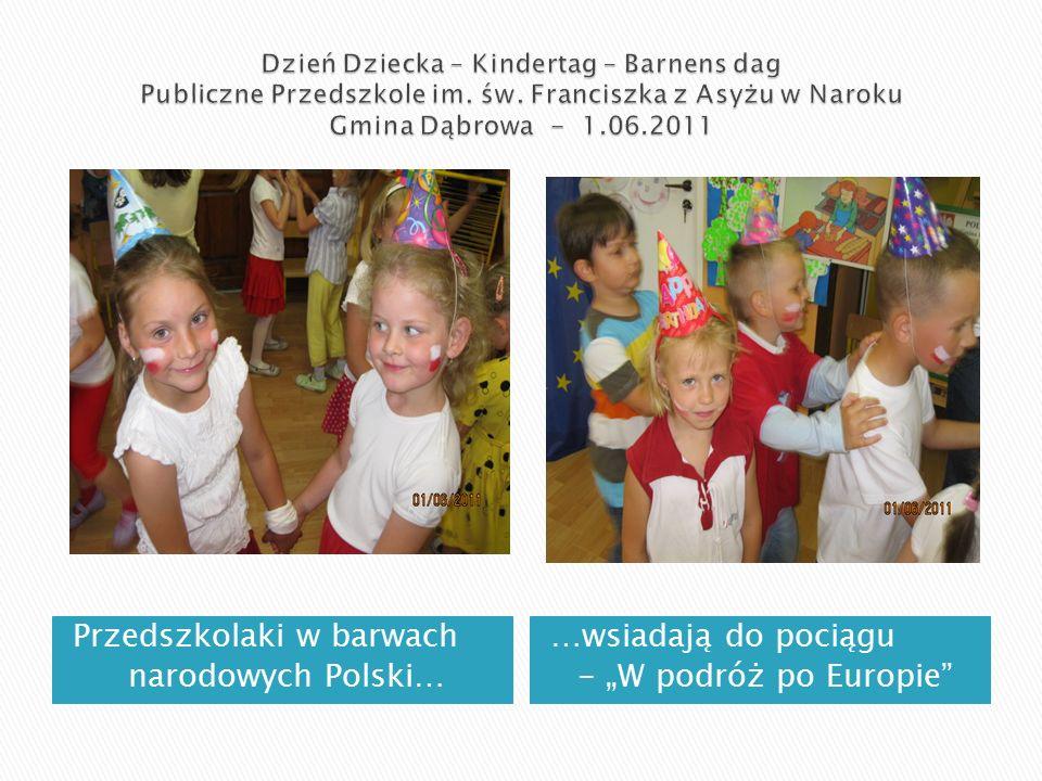 """Przedszkolaki w barwach narodowych Polski… …wsiadają do pociągu - """"W podróż po Europie"""