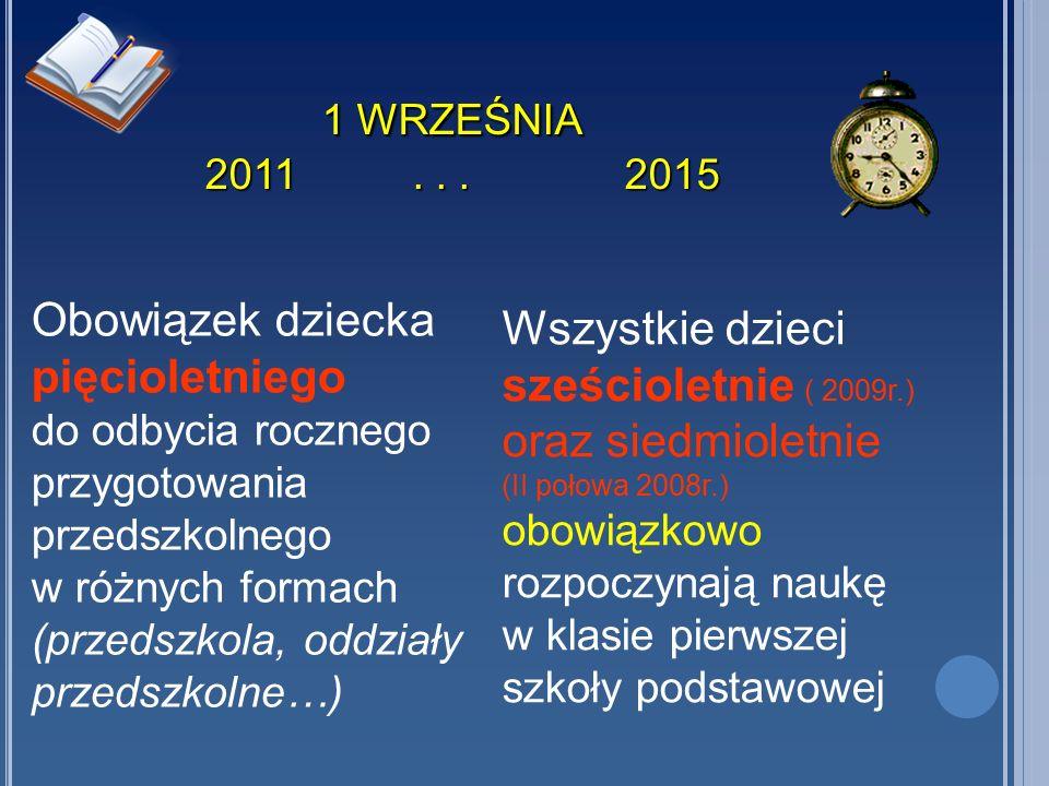 1 WRZEŚNIA 2011...2015 1 WRZEŚNIA 2011...2015 Obowiązek dziecka pięcioletniego do odbycia rocznego przygotowania przedszkolnego w różnych formach (prz