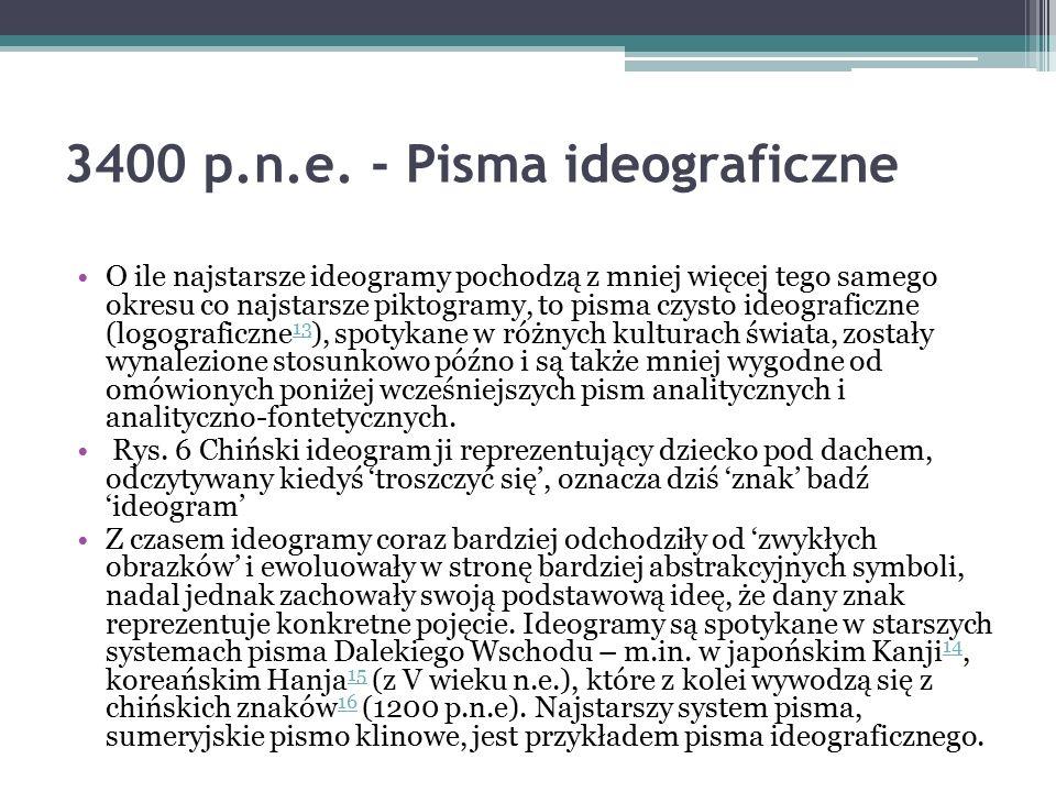 3400 p.n.e. - Pisma ideograficzne O ile najstarsze ideogramy pochodzą z mniej więcej tego samego okresu co najstarsze piktogramy, to pisma czysto ideo