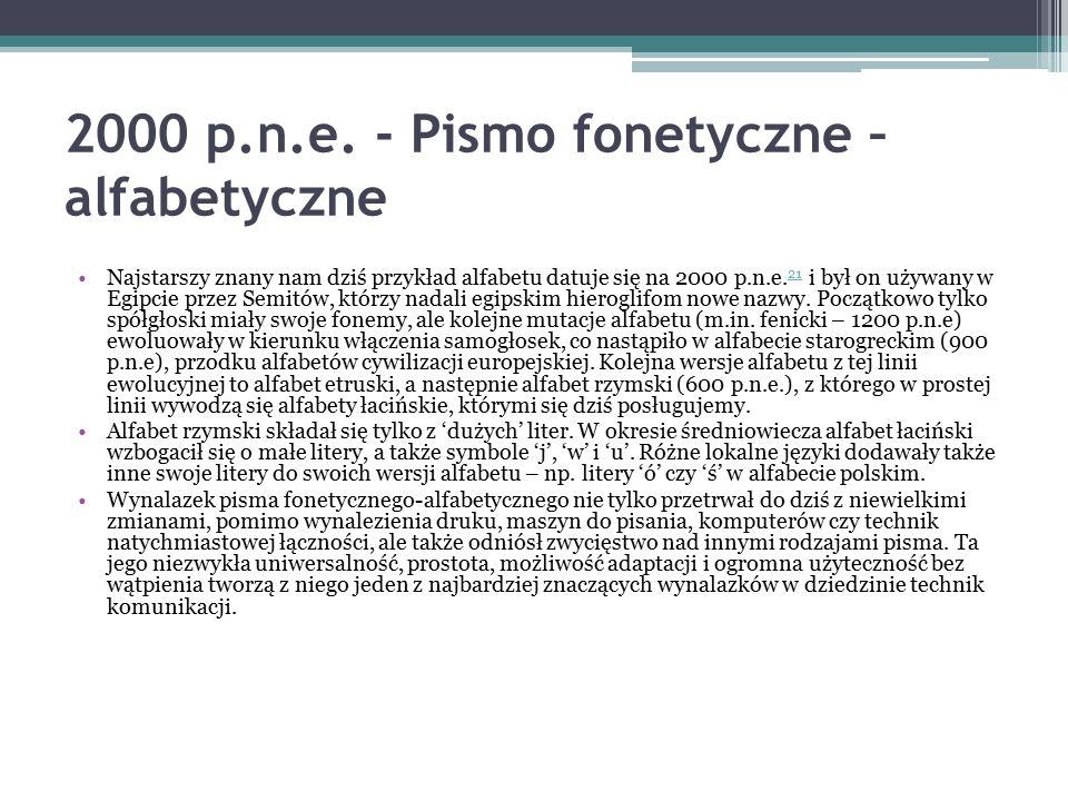 2000 p.n.e. - Pismo fonetyczne – alfabetyczne Najstarszy znany nam dziś przykład alfabetu datuje się na 2000 p.n.e. 21 i był on używany w Egipcie prze