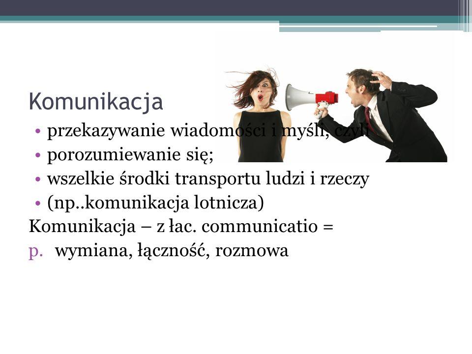 Komunikacja przekazywanie wiadomości i myśli, czyli porozumiewanie się; wszelkie środki transportu ludzi i rzeczy (np..komunikacja lotnicza) Komunikac