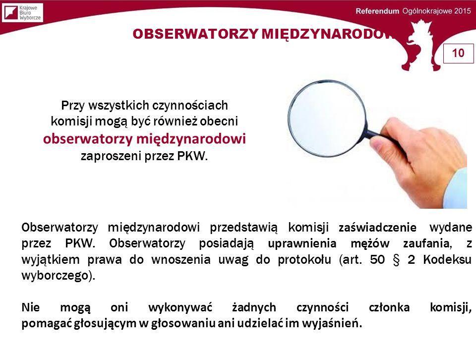 Obserwatorzy międzynarodowi przedstawią komisji zaświadczenie wydane przez PKW. Obserwatorzy posiadają uprawnienia mężów zaufania, z wyjątkiem prawa d