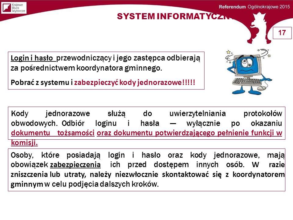 Login i hasło przewodniczący i jego zastępca odbierają za pośrednictwem koordynatora gminnego. Pobrać z systemu i zabezpieczyć kody jednorazowe!!!!! K