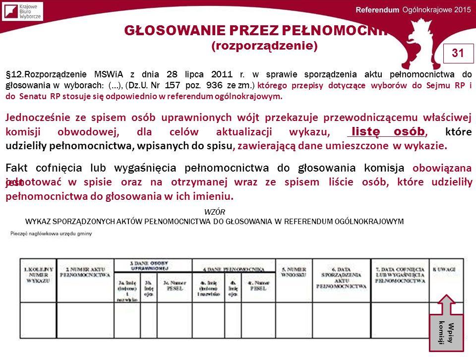 §12.Rozporządzenie MSWiA z dnia 28 lipca 2011 r. w sprawie sporządzenia aktu pełnomocnictwa do głosowania w wyborach: (…), (Dz.U. Nr 157 poz. 936 ze z