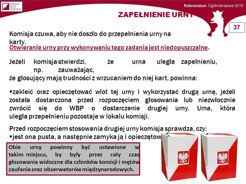 Komisja czuwa, aby nie doszło do przepełnienia urny na karty. Otwieranie urny przy wykonywaniu tego zadania jest niedopuszczalne. Jeżelikomisjastwierd