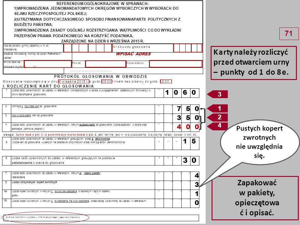 - 2 -- 2 - 8c Liczba kopert zwrotnych, w których nie było koperty na kartę do głosowania**** 0 8d Liczba kopert zwrotnych, w których znajdowała się niezaklejona koperta na kartę do głosowania **** 1 8e Liczba kopert na kartę do głosowania wrzuconych do urny**** 2 Uwaga.