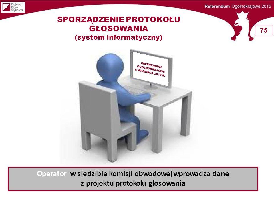 Wprowadzenie danych z projektu protokołu głosowania DrukowanieDrukowanie Porównanie projektu protokołu z wydrukiem odczytanie na głos Uwierzytelnienie danych kodem jednorazowym przez przewodniczącego lub zastępcę komisji KOMISARZ WYBORCZY Pełnomocnik KOMISARZA WYBORCZEGO Błędy - blokada wydruku protokołu Korekta błędów (prawidłowe dane liczbowe) Ostrzeżenia Analiza Korekta Dane prawidłowe (raport ostrzeżeń przesłać wraz z protokołem do właściwego Komisarza wyborczego) Transmisja danych z protokołu przez operatora Brak możliwości transmisji – zapis danych z protokołu na nośniku Ustalenie przyczyny błędu .