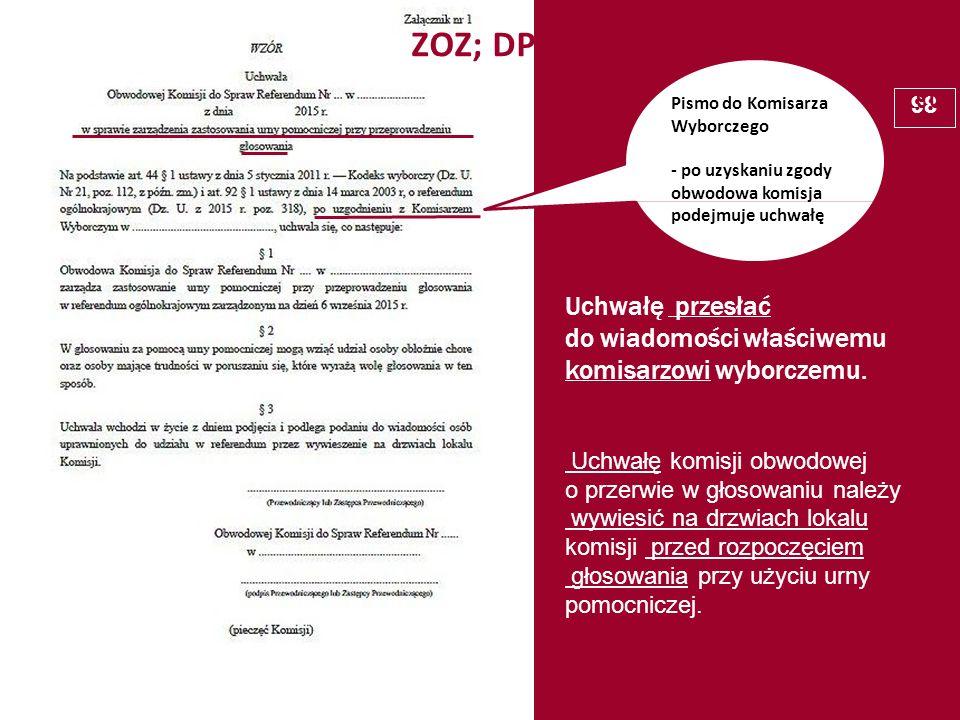 Pismo do Komisarza Wyborczego - po uzyskaniu zgody obwodowa komisja podejmuje uchwałę ZOZ; DPS Uchwałę przesłać do wiadomości właściwemu komisarzowi w
