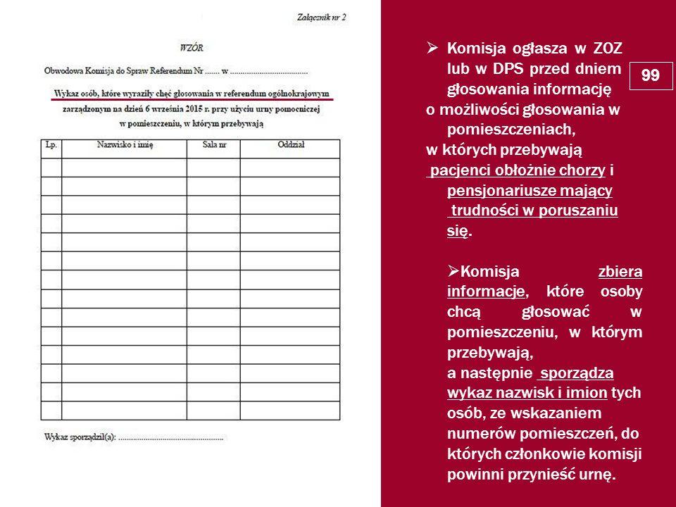  Komisja ogłasza w ZOZ lub w DPS przed dniem głosowania informację o możliwości głosowania w pomieszczeniach, w których przebywają pacjenci obłożnie