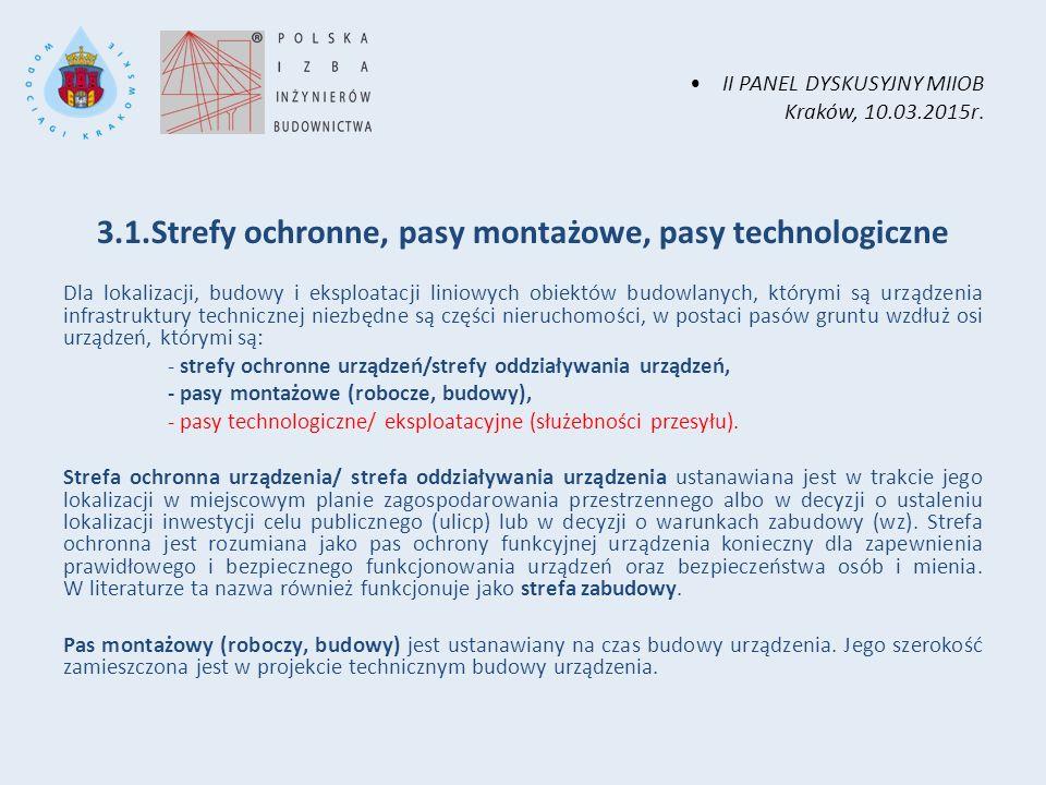 II PANEL DYSKUSYJNY MIIOB Kraków, 10.03.2015r. 3.1.Strefy ochronne, pasy montażowe, pasy technologiczne Dla lokalizacji, budowy i eksploatacji liniowy