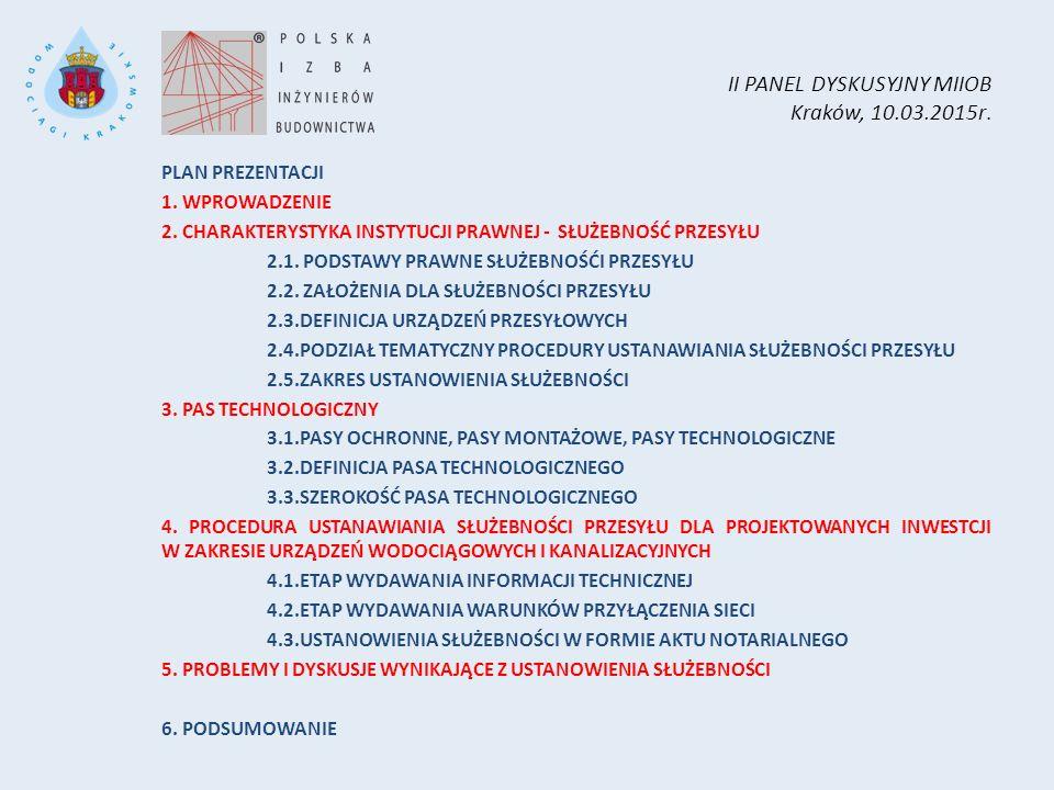 II PANEL DYSKUSYJNY MIIOB Kraków, 10.03.2015r. PLAN PREZENTACJI 1. WPROWADZENIE 2. CHARAKTERYSTYKA INSTYTUCJI PRAWNEJ - SŁUŻEBNOŚĆ PRZESYŁU 2.1. PODST