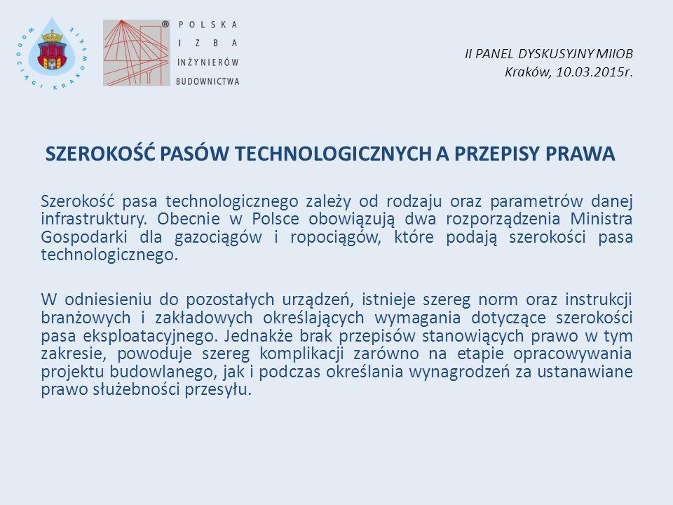 II PANEL DYSKUSYJNY MIIOB Kraków, 10.03.2015r. SZEROKOŚĆ PASÓW TECHNOLOGICZNYCH A PRZEPISY PRAWA Szerokość pasa technologicznego zależy od rodzaju ora