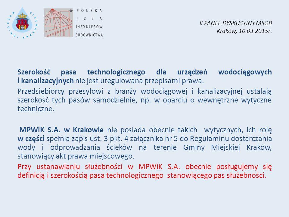 II PANEL DYSKUSYJNY MIIOB Kraków, 10.03.2015r. Szerokość pasa technologicznego dla urządzeń wodociągowych i kanalizacyjnych nie jest uregulowana przep