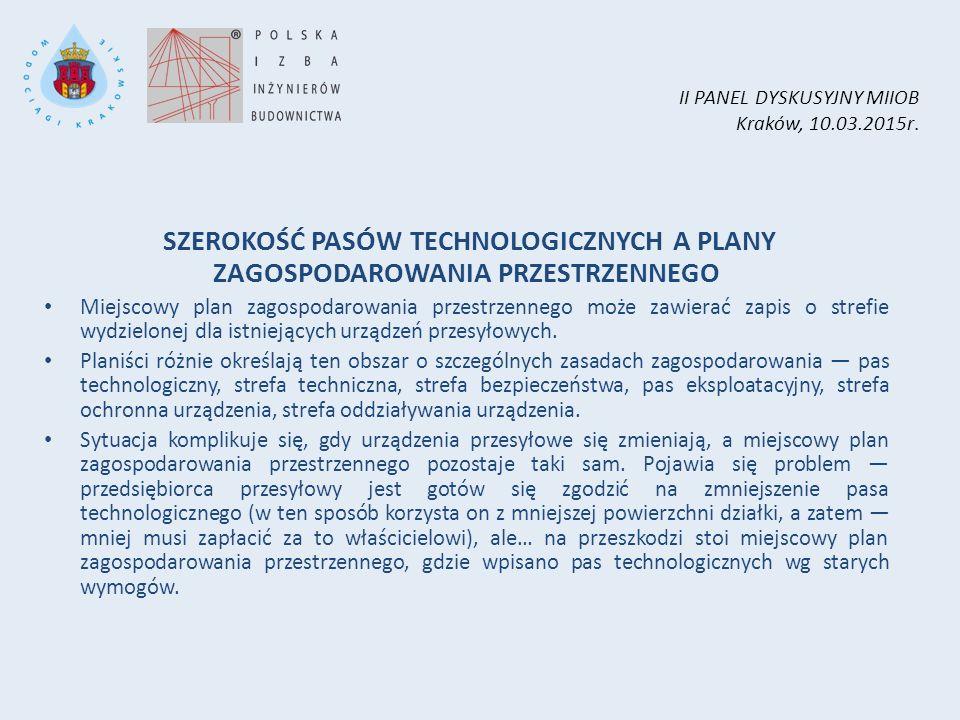 II PANEL DYSKUSYJNY MIIOB Kraków, 10.03.2015r. SZEROKOŚĆ PASÓW TECHNOLOGICZNYCH A PLANY ZAGOSPODAROWANIA PRZESTRZENNEGO Miejscowy plan zagospodarowani
