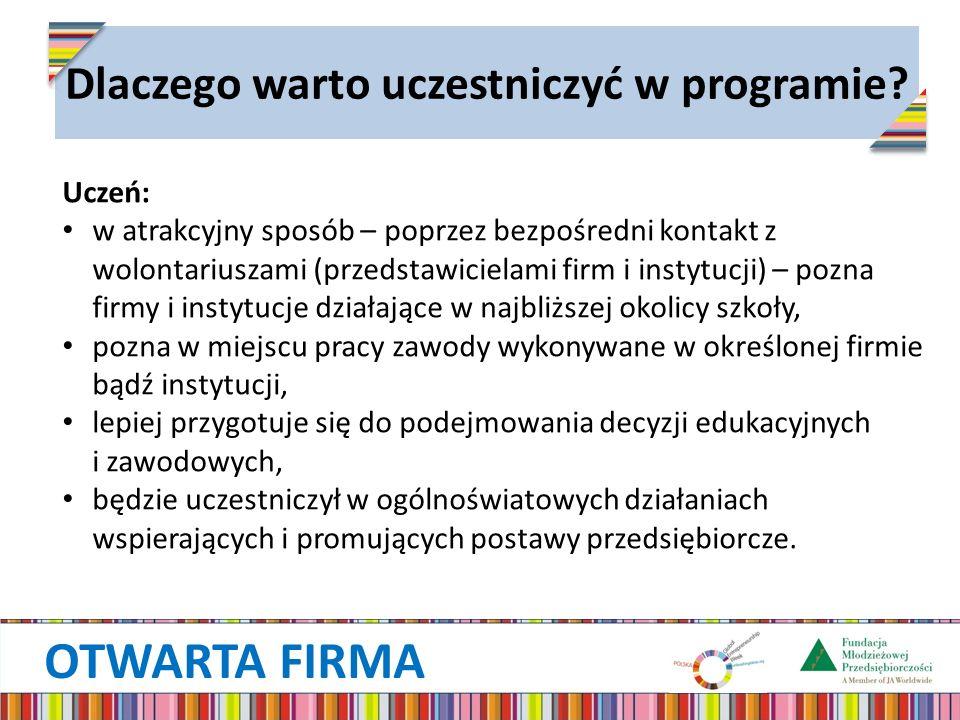 OTWARTA FIRMA Dlaczego warto uczestniczyć w programie? Uczeń: w atrakcyjny sposób – poprzez bezpośredni kontakt z wolontariuszami (przedstawicielami f