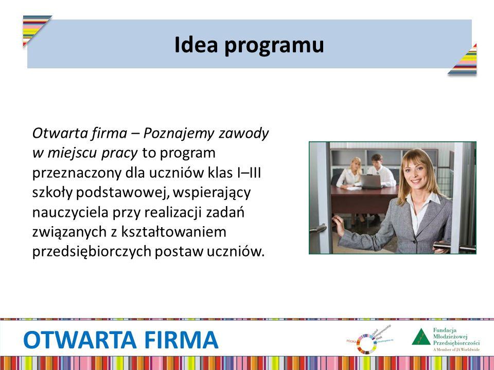 OTWARTA FIRMA Idea programu Otwarta firma – Poznajemy zawody w miejscu pracy to program przeznaczony dla uczniów klas I–III szkoły podstawowej, wspier