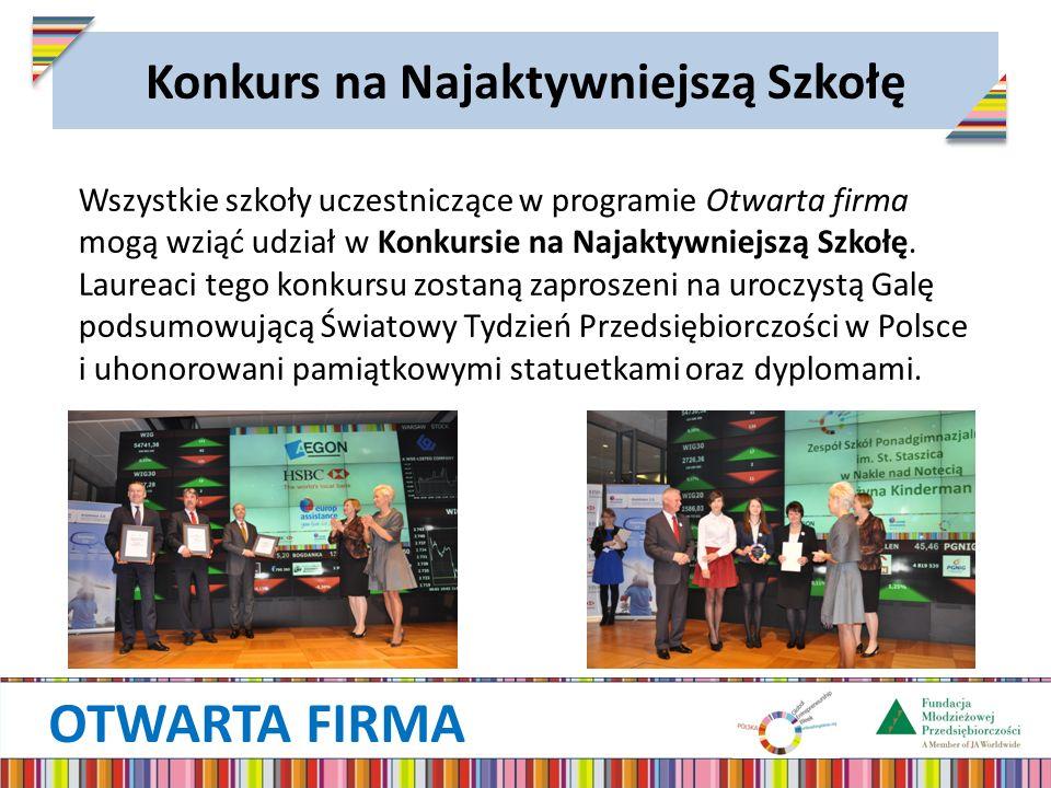 OTWARTA FIRMA Konkurs na Najaktywniejszą Szkołę Wszystkie szkoły uczestniczące w programie Otwarta firma mogą wziąć udział w Konkursie na Najaktywniejszą Szkołę.