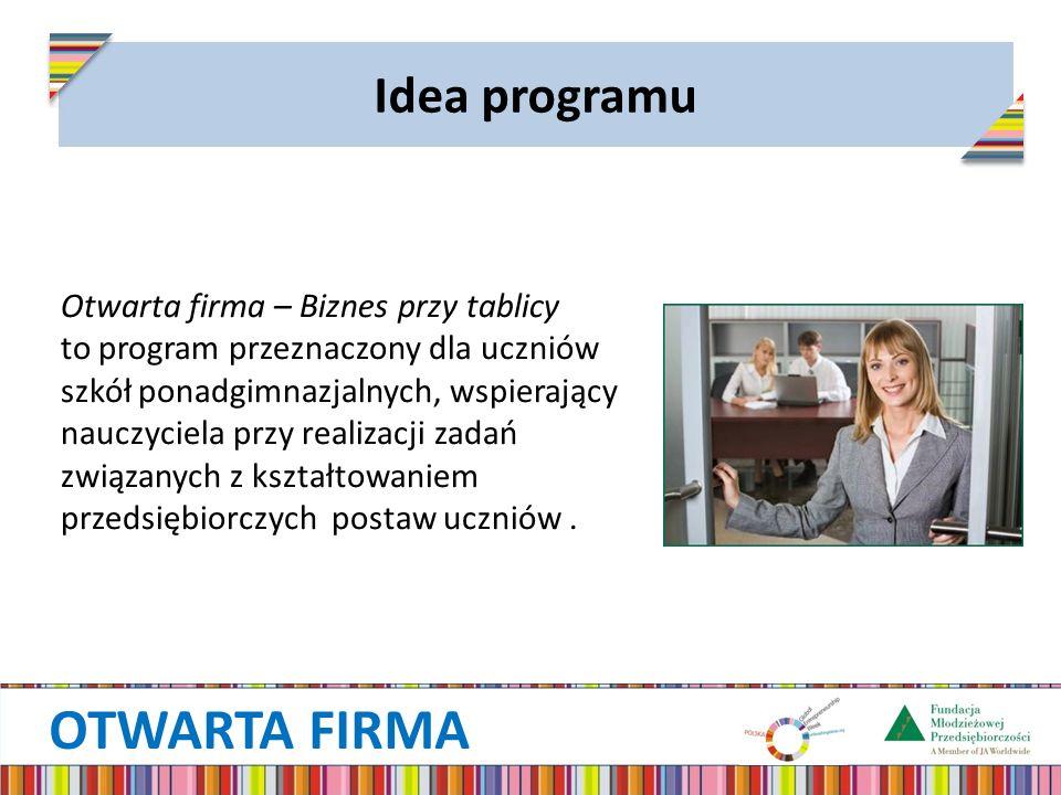OTWARTA FIRMA Idea programu Otwarta firma – Biznes przy tablicy to program przeznaczony dla uczniów szkół ponadgimnazjalnych, wspierający nauczyciela przy realizacji zadań związanych z kształtowaniem przedsiębiorczych postaw uczniów.