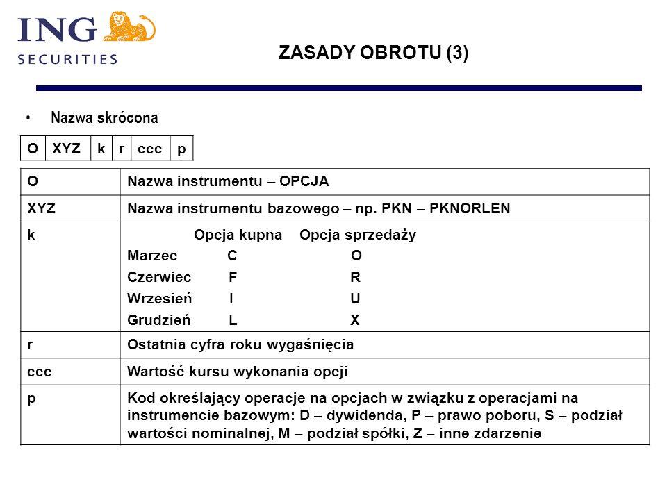 Nazwa skrócona OXYZkrcccp ONazwa instrumentu – OPCJA XYZNazwa instrumentu bazowego – np.