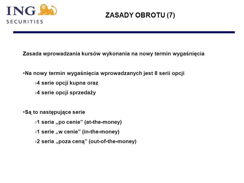 """ZASADY OBROTU (7) Zasada wprowadzania kursów wykonania na nowy termin wygaśnięcia Na nowy termin wygaśnięcia wprowadzanych jest 8 serii opcji ›4 serie opcji kupna oraz ›4 serie opcji sprzedaży Są to następujące serie ›1 seria """"po cenie (at-the-money) ›1 serie """"w cenie (in-the-money) ›2 seria """"poza ceną (out-of-the-money)"""